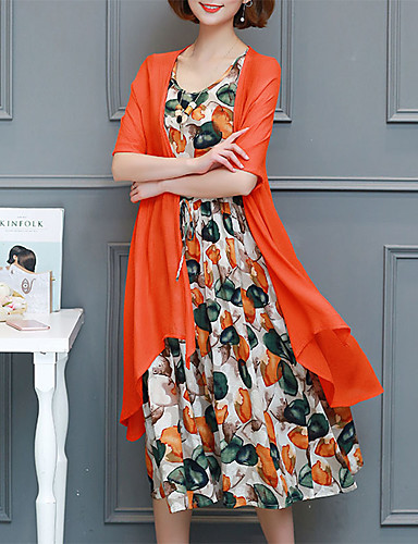 9287f887f2a Women s Daily Going out Sophisticated Elegant Petal Sleeves Shift Chiffon  Dress - Geometric Black   Red