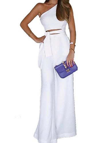 abordables Hauts pour Femmes-Femme Kentucky Derby Quotidien Une Epaule Blanc Noir Ample Mince Combinaison-pantalon, Couleur Pleine Lacet M L XL Sans Manches