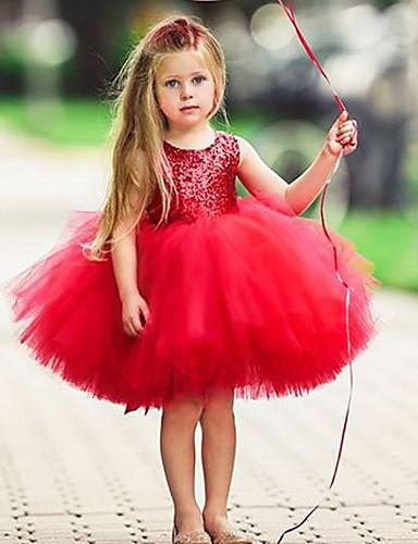 Παιδιά Κοριτσίστικα Βασικό Μονόχρωμο Αμάνικο Φόρεμα Ανθισμένο Ροζ