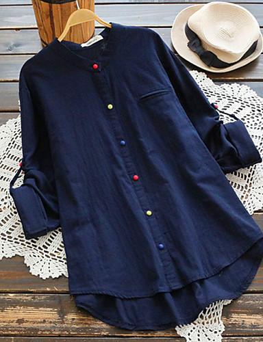 povoljno Majica-Veći konfekcijski brojevi Majica Žene Dnevno Pamuk Jednobojni V izrez Širok kroj Plava