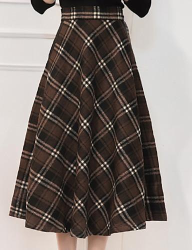 abordables Jupes-Femme Classique Basique Quotidien Trapèze Jupes - Damier Le style rétro Taille haute Vert Noir Rouge XL XXXL XXL