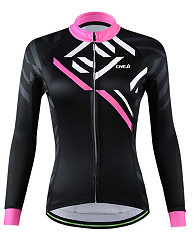 cheap Cycling Clothing-cheji® Women's Long Sleeve Cycling Jersey - Pink Dark Pink Black+Sliver Bike Jersey Top Thermal / Warm Breathable Sports Fleece Other Mountain Bike MTB Road Bike Cycling Clothing Apparel / YKK Zipper