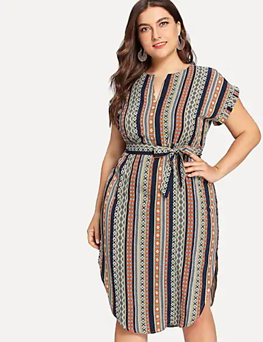 afba6be21ac8 Γυναικεία Μεγάλα Μεγέθη Βασικό Θήκη Φόρεμα - Ριγέ Ως το Γόνατο Ψηλή Μέση Λαιμόκοψη  V   Sexy