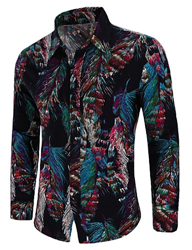 cheap Men's Plus Sizes-Men's Vintage / Boho Plus Size Cotton Shirt - Paisley Print Spread Collar / Long Sleeve