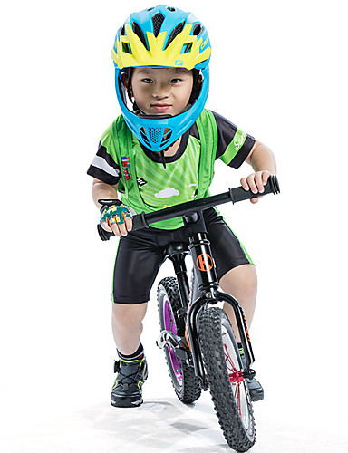 cheap Cycling Clothing-SANTIC Boys' Short Sleeve Cycling Jersey with Bib Shorts - Green Cartoon Bike Padded Shorts / Chamois Clothing Suit UV Resistant Breathable Moisture Wicking Quick Dry Sports Polyester Spandex Silicone