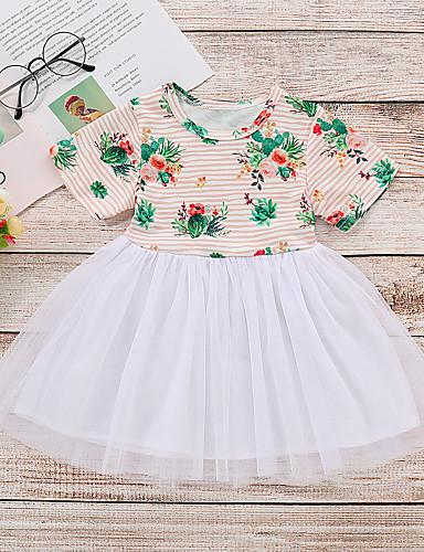 Dziecko Dla dziewczynek Aktywny / Podstawowy Kwiaty Krótki rękaw Bawełna / Spandeks Sukienka Biały