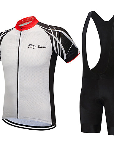 ff0ab0e47 FirtySnow Men s Short Sleeve Cycling Jersey with Bib Shorts - White Black  Bike Clothing Suit Breathable Quick Dry Sports Polyester Creative Mountain  Bike ...
