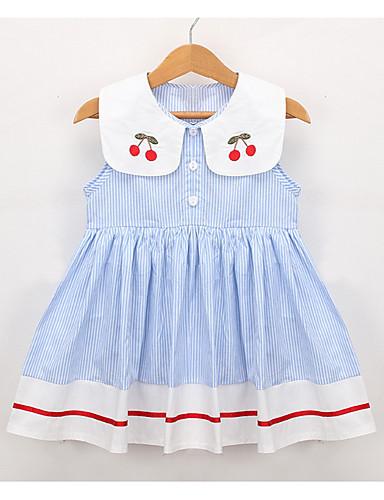 Νήπιο Κοριτσίστικα Ενεργό Καθημερινά Ριγέ / Συνδυασμός Χρωμάτων Αμάνικο Ως το Γόνατο Φόρεμα Λευκό