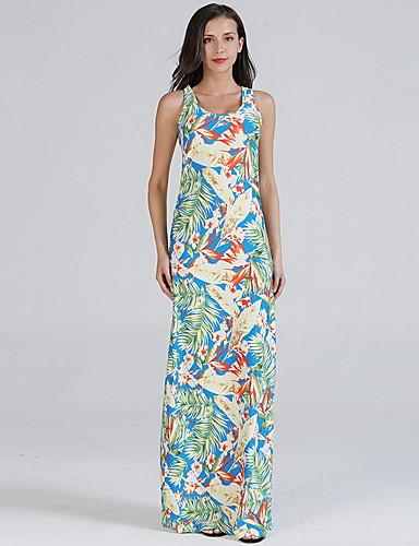 voordelige Maxi-jurken-Dames Slank A-lijn Jurk - Bloemen, Print U-hals Maxi