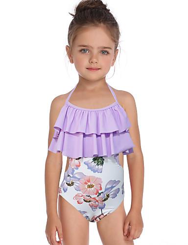 Děti / Toddler Dívčí Základní / Cute Style Sport / Plážové Květinový Volány / Tisk Bez rukávů Nylon Plavky Světle modrá
