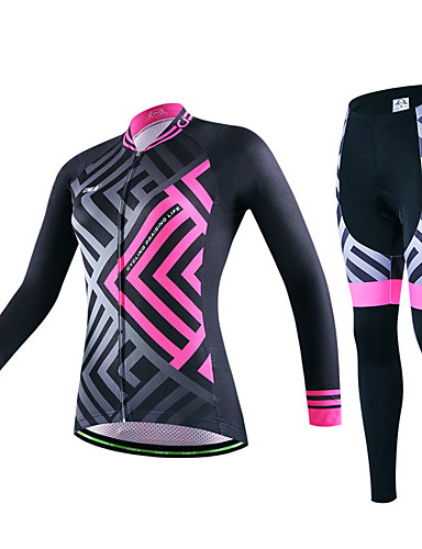 cheap Cycling Clothing-cheji® Women's Long Sleeve Cycling Jersey with Tights - Dark Blue Green Pink Bike Clothing Suit Breathable Quick Dry Sports Lycra Mountain Bike MTB Road Bike Cycling Clothing Apparel