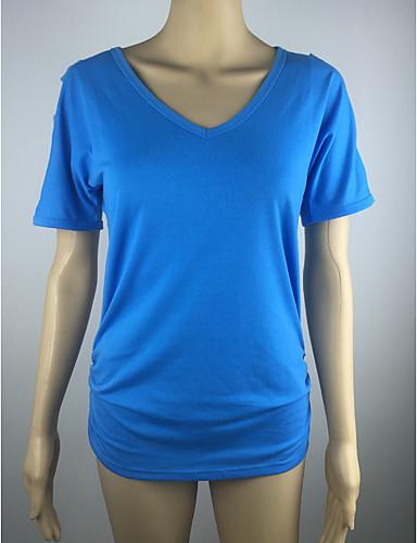 abordables Hauts pour Femme-Tee-shirt Femme, Couleur Pleine Basique V Profond Bleu clair