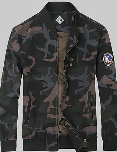 voordelige Herenjacks & jassen-Heren Dagelijks Winter Normaal Jack, camouflage Opstaand Lange mouw Linnen / Polyester Leger Groen / Khaki / Slank