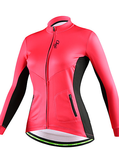 cheji® Mujer Manga Larga Maillot de Ciclismo - Negro Rojo Rosa Un Color  Bicicleta Camiseta   Maillot Deportes Algodón Ciclismo de Montaña Ciclismo  de Pista ... f608aa0408ca