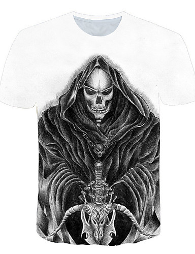 ba44eb5efee9 Men s Club Basic   Street chic T-shirt - Color Block   3D   Skull Print  Round Neck White XXXL   Short Sleeve