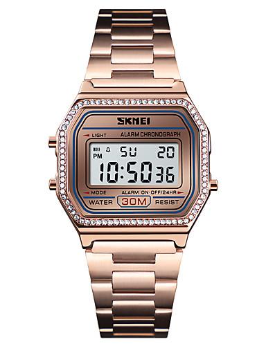 16e1c0d0846f SKMEI Mujer Reloj de Vestir Reloj de Pulsera Reloj de diamantes Digital  Acero Inoxidable Negro