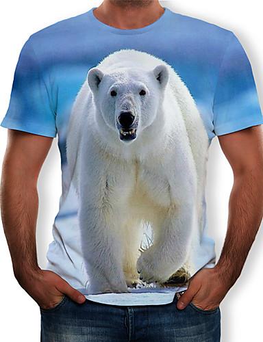 Miesten Pyöreä kaula-aukko Painettu Color Block / 3D / Eläin T-paita Vaalean sininen