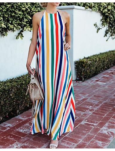 f62ceca3a60 cheap Print Dresses-Women  039 s Basic Boho Swing Dress - Striped Color