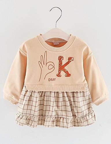 Dítě Dívčí Základní Tisk Dlouhý rukáv Nad kolena Polyester Šaty Světlá růžová