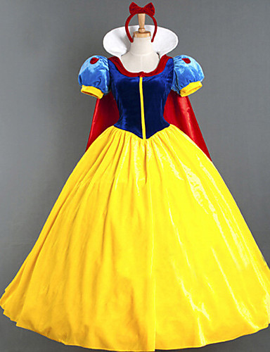 billige Film & TV-kostymer-Prinsesse Maskerade Dame Film-Cosplay Prinsesse Gul Kjole Kappe Halloween Karneval Maskerade Bomull Polyester