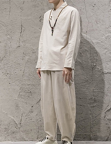 Men's Linen Shirt - Solid Colored