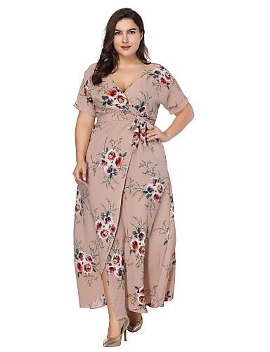 voordelige Grote maten jurken-Dames Boho Verfijnd Chiffon Jurk - Bloemen, Kant Veters Print Maxi