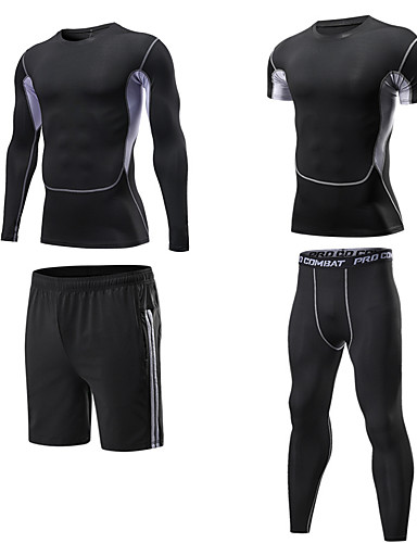 cheap Compression Clothing-Men's Compression Shirt Compression Pants Long Pant Compression Compression Clothing Warm Ventilation Quick Dry Comfortable Black Outdoor Exercise Multisport Outdoor Micro-elastic / Mountain Bike MTB