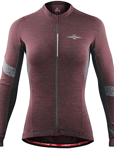 cheap Cycling Clothing-Women's Long Sleeve Cycling Jersey - Gray+Green Sky Blue+White Wine Red Solid Color Bike Jersey Top Breathable Moisture Wicking Sports Winter Spandex Clothing Apparel / Stretchy / Breathable Armpits