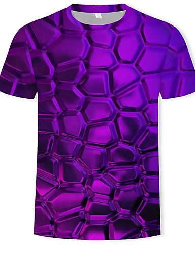 voordelige Heren T-shirts & tanktops-Heren Print T-shirt Katoen Effen / Geometrisch / 3D Ronde hals Paars