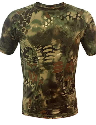 cheap Outdoor Clothing-Men's Camo Hiking Tee shirt Short Sleeve Outdoor Breathable Fast Dry Stretchy Tee / T-shirt Top Autumn / Fall Spring Terylene Crew Neck Blue Forest Green Grey Hunting Camping / Hiking / Caving Back