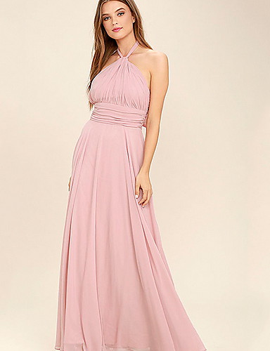 Women's Basic Swing Dress - Solid Colored Ruched Pink M L XL