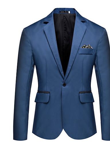 voordelige Best verkocht-Heren Blazer, Effen Ingesneden revers Polyester Marineblauw / Grijs / Marine Blauw XL / XXL / XXXL