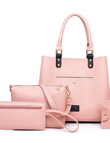 62a174025e Γυναικεία Τσάντες PU Σετ τσάντα 4 σετ Σετ τσαντών Φερμουάρ Συμπαγές Χρώμα  Ρουμπίνι   Ανθισμένο Ροζ   Καφέ