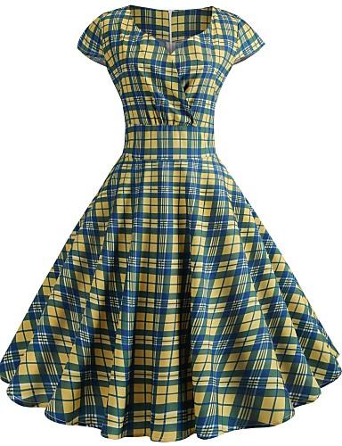 זול שמלות נשים-מעל הברך דפוס, משובץ - שמלה גזרת A וינטאג' בגדי ריקוד נשים