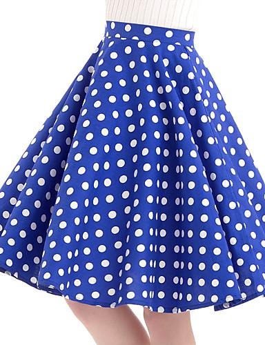 abordables Jupes-Femme Rétro Vintage Coton Balançoire Jupes - Points Polka Bleu L XL XXL
