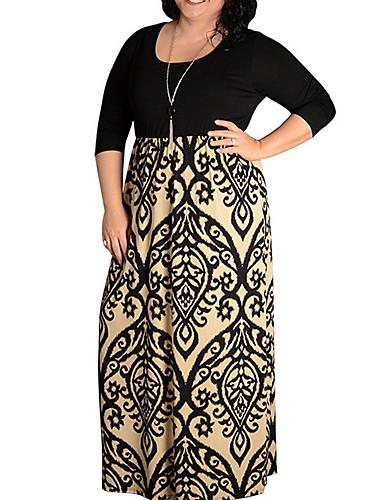 voordelige Maxi-jurken-Dames Grote maten Standaard Ruimvallend A-lijn Jurk - Geometrisch U-hals Maxi