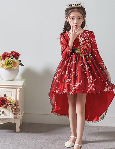 Prinzessin Asymmetrisch Blumenmädchenkleid - Satin / Tüll Langarm Schmuck mit Applikationen / Gürtel durch LAN TING Express