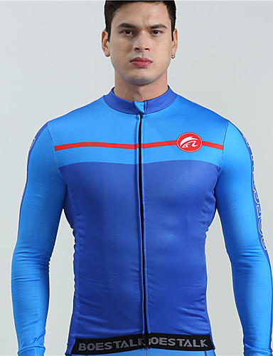 cheap Cycling Clothing-BOESTALK Men's Long Sleeve Cycling Jersey - Dark Blue Blue Bike Jersey Top Thermal / Warm Breathable Back Pocket Sports Winter Fleece Wool Fabric Mountain Bike MTB Road Bike Cycling Clothing Apparel