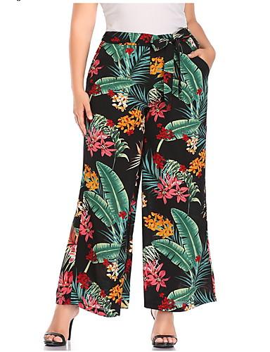 billige Tights til damer-Dame Grunnleggende Store størrelser Tynn Bred Bukseben Bukser - Planter Grønn XL XXL XXXL