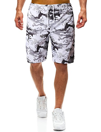 Amichevole Per Uomo Essenziale - Militare Largo Pantaloncini Pantaloni - Con Stampa Grigio Chiaro #07193346