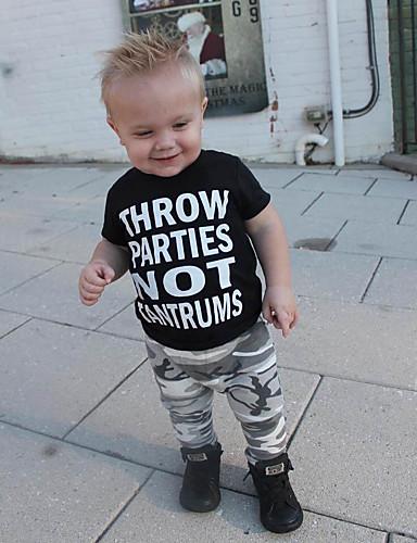 Baby Gutt Aktiv / Grunnleggende Trykt mønster Trykt mønster Kortermet Normal Bomull / Spandex Tøysett Svart