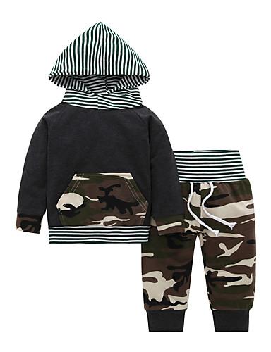 Μωρό Αγορίστικα Καθημερινό / Βασικό Ριγέ / Στάμπα Μακρυμάνικο Κανονικό Βαμβάκι Σετ Ρούχων Πράσινο Χακί