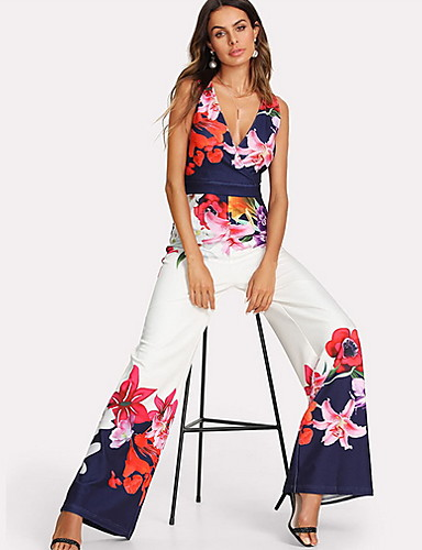 8734a72b67 Women s Floral Kentucky Derby Daily Elegant Deep V White Wide Leg Jumpsuit