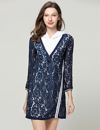 Kadın's Zarif Kombinezon Elbise - Çiçekli, Dantel Diz üstü