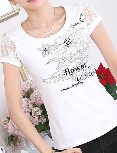 abordables Hauts pour Femme-Tee-shirt Femme, Graphique - Coton Jacquard / Brodée Mince Blanche