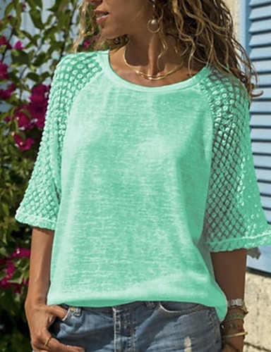 abordables Hauts pour Femme-Tee-shirt Grandes Tailles Femme, Couleur Pleine Dentelle / Mosaïque Blanche
