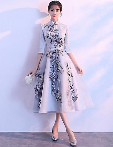 93cf8e32c98d Γραμμή Α Λαιμόκοψη V Midi Δαντέλα Φόρεμα Παρανύμφων με Σχέδιο   Στάμπα με LAN  TING Express