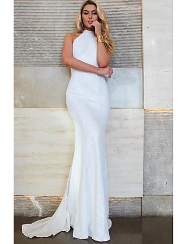 Women's Elegant Maxi Slim Trumpet / Mermaid Dress - Solid Colored White M L XL