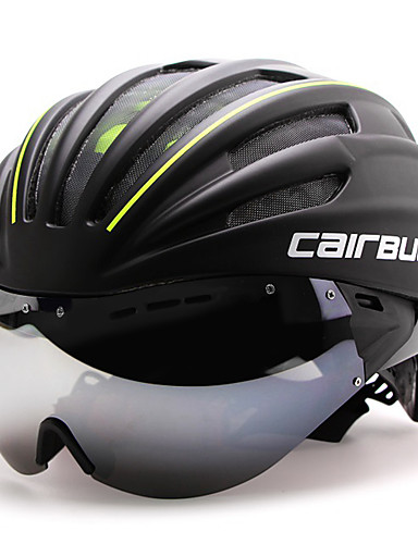 cheap Cycling-CAIRBULL Adults Bike Helmet with Goggle Aero Helmet 28 Vents CE EN 1077 Impact Resistant Ventilation Insect Net EPS PC Sports Road Cycling - Red Green Blue / Integrally-molded