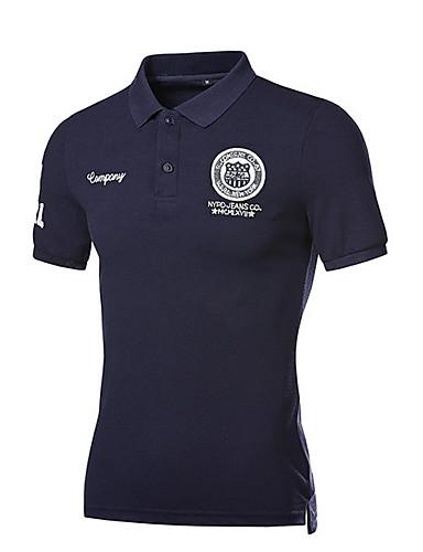 voordelige Herenpolo's-Heren Polo Katoen Effen Overhemdkraag Slank Marineblauw